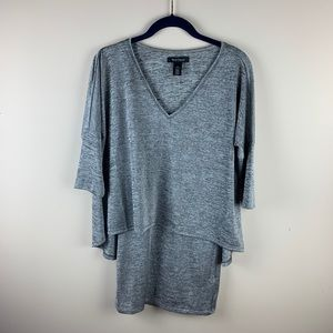 WHBM Silver V-Neck Double Layer Tunic